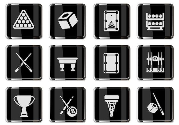 블랙 크롬 버튼의 당구 픽토그램. 디자인에 대 한 설정 아이콘입니다. 벡터 아이콘