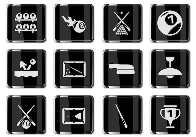ブラッククロームボタンのビリヤードピクトグラム。あなたのデザインに設定されたアイコン。ベクトルアイコン