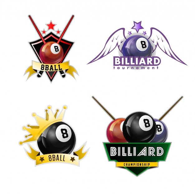 Набор логотипов для игры в бильярд, бильярд и снукер