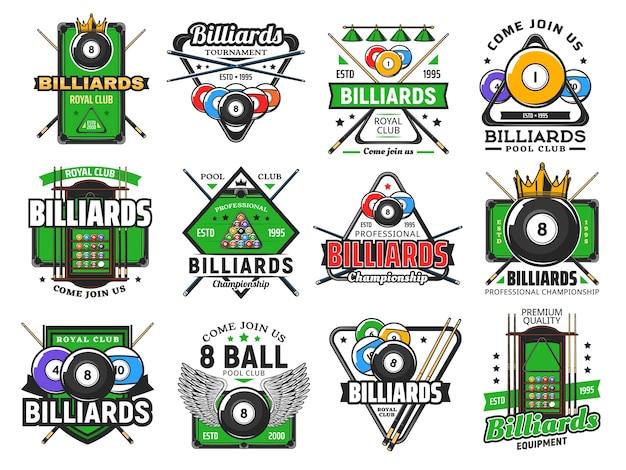 ビリヤードプールゲーム、スヌーカースポーツクラブのアイコン、ビリヤード場のチャンピオンシップとトーナメント。ビリヤードロイヤルクラブとプールスヌーカーの手がかりの兆候、翼、三角形のラック、緑のテーブルと8つのエイトボール
