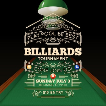 Billiards poster illustration