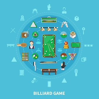 Biliardo rotondo composizione su sfondo blu con giocatore, attrezzature sportive, emblemi di gioco, accessori per la pulizia