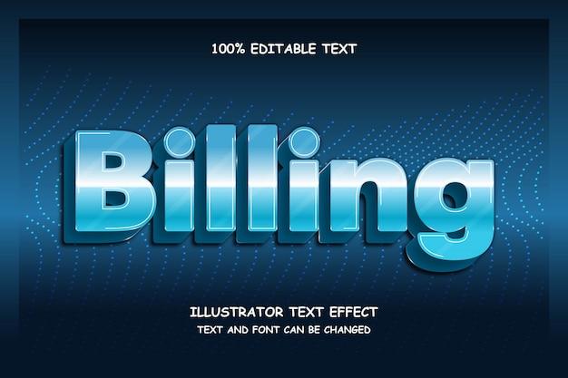 Биллинг, 3d редактируемый текстовый эффект, современный футуристический стиль