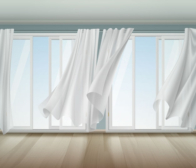 Billowing curtains open window illustration