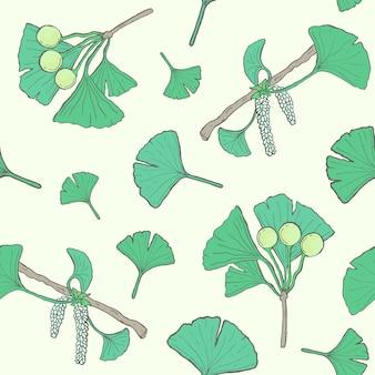 イチョウのbilobaの枝と葉、花、果実とのシームレスなパターン。医療、植物の植物の背景。