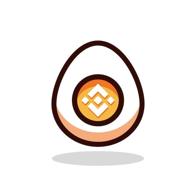 바이낸스 계란 만화 벡터 일러스트 레이 션