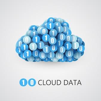 Концепция облака больших двоичных данных. знак облачных технологий с одним и нулевым кругом.