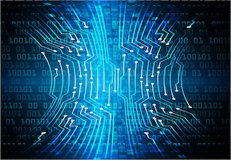 Binary circuit board future technology, blue cyber security concept