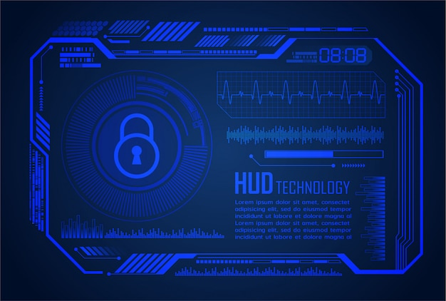 Binary circuit board future technology, blue hud world cyber security concept background,