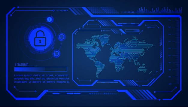 バイナリ回路基板の将来の技術、青い世界のhudサイバーセキュリティの概念の背景、