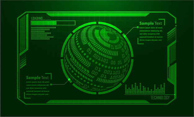 Binary circuit board future technology, green world hud cyber security concept background,