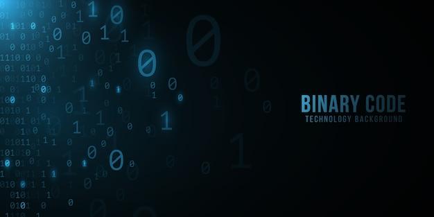 Фон двоичного кода. современный дизайн в стиле хай-тек. программирование баннера. мировая сеть. шаблон высоких технологий.