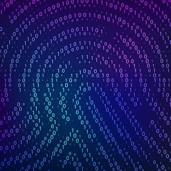 바이너리 코드. 지문 모양에 따른 생체 데이터. 사이버 보안 기술입니다. 디지털 인증 정보. 벡터 일러스트 레이 션