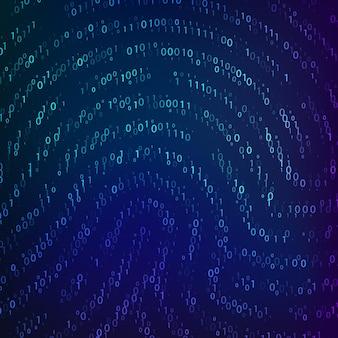 지문 모양별 이진 코드. 생체 데이터. 사이버 보안 기술입니다. 디지털 인증 정보. 벡터 일러스트 레이 션