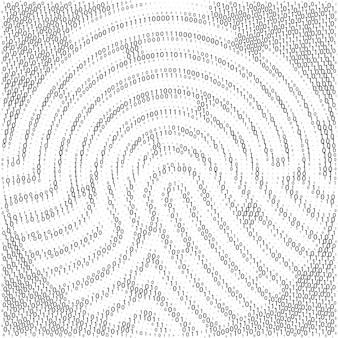 지문 모양별 이진 코드. 사이버 보안 기술입니다. 디지털 인증 정보. 0과 1자리의 집합입니다. 흰색 바탕에 검은 숫자. 벡터 일러스트 레이 션