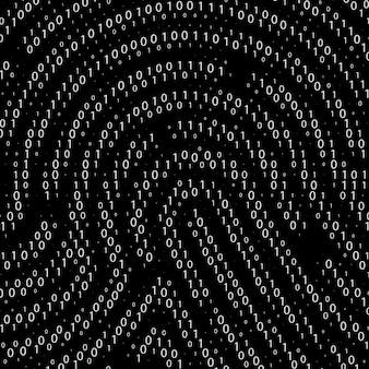 지문 모양별 이진 코드. 사이버 보안 기술입니다. 디지털 인증 정보. 벡터 일러스트 레이 션