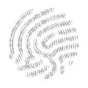 지문 모양별 이진 코드. 0과 1자리의 집합입니다. 사이버 보안 기술입니다. 디지털 인증 정보. 흰색 바탕에 검은 숫자. 벡터 일러스트 레이 션