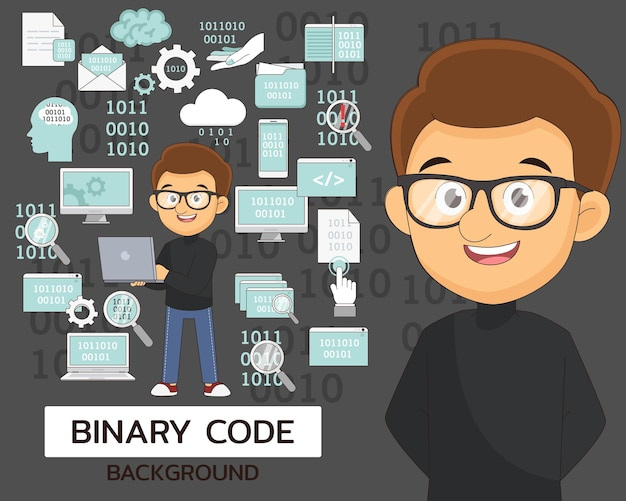 Binary code concept background. flat icons.