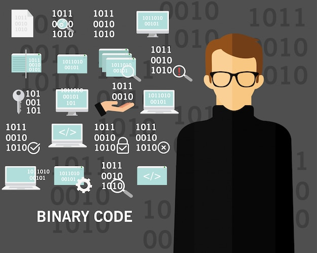 Binary code concept background