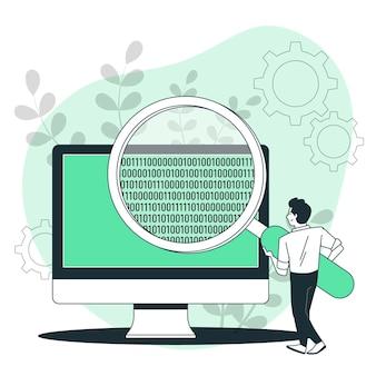 Illustrazione del concetto di codice binario