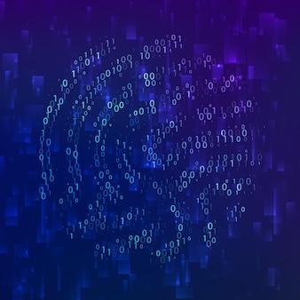 바이너리 코드 지문 생체 인식 id. 소프트웨어 식별을 위한 디지털 키입니다. 미래 기술 시스템의 지문 스캐너. 벡터 일러스트 레이 션