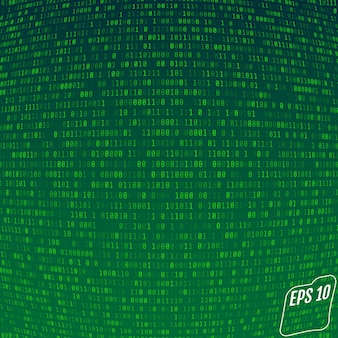 Binary code on green background.