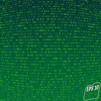 Binary code on green background.