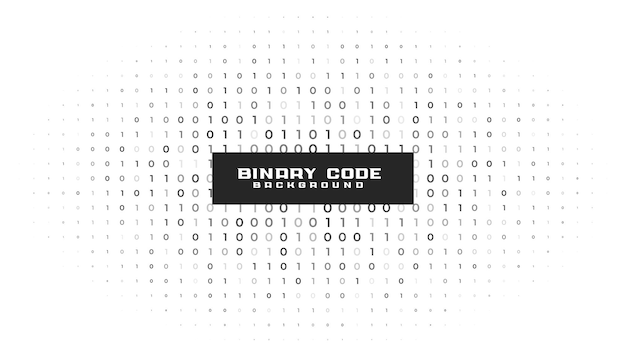 Binary code numbers white background