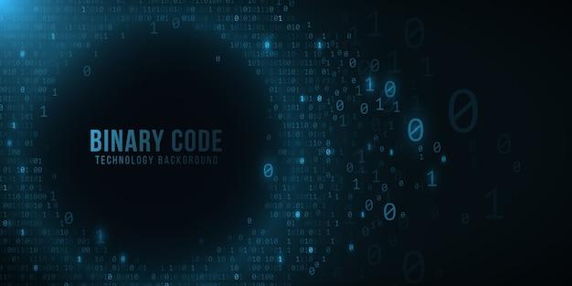 暗い青色の背景のバイナリコード。ハイテクでモダンなデザイン。