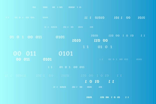 Modello di codice binario su sfondo blu