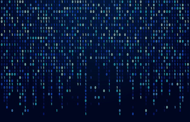 Binary code stream. digital data codes, hacker coding and crypto matrix numbers flow. digitally blue screen abstract  background