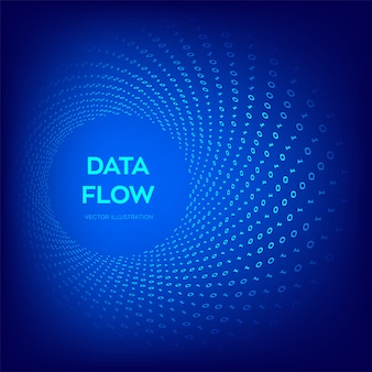 Binary data flow. virtual tunnel warp.