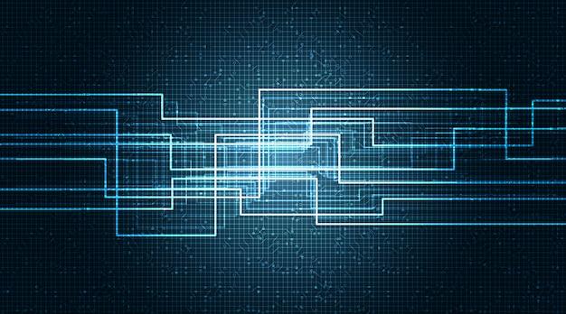 技術の背景、ハイテクデジタル、セキュリティコンセプトのバイナリライン回路マイクロチップ