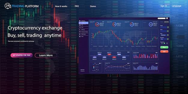 バイナリーオプション。市場でのすべての状況:プットコール、落札した取り引き未来的なユーザーインターフェイス。インフォグラフィック要素。