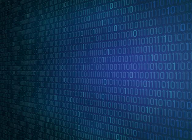 Binary zero one of technology gradient blue background.