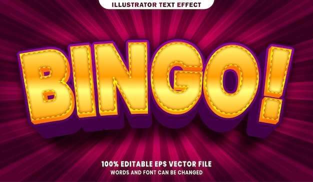Редактируемый текстовый эффект бинго 3d