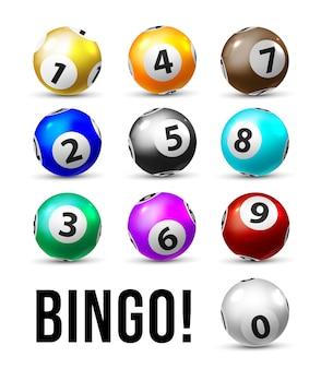 ビンゴボール。ケノロトスポーツゲーム用抽選球10個セット。白い背景の上の数字で現実的なビンゴのボール。カジノギャンブルのコンセプト