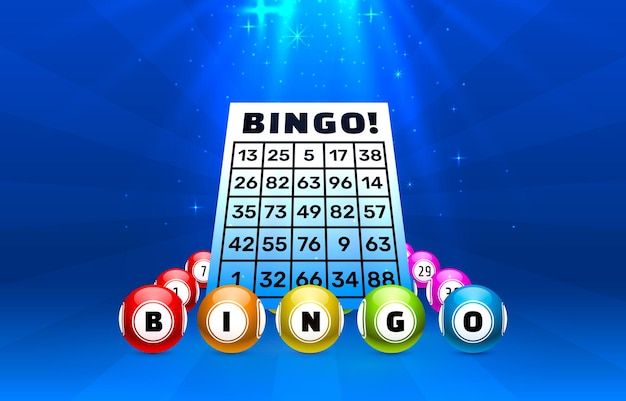 Bingo game balls with numbers on blue with lights