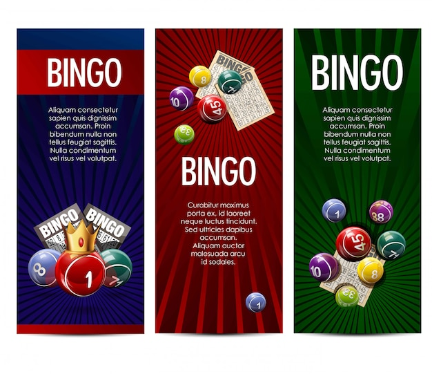 Bingo lottery lotto game vector banners set