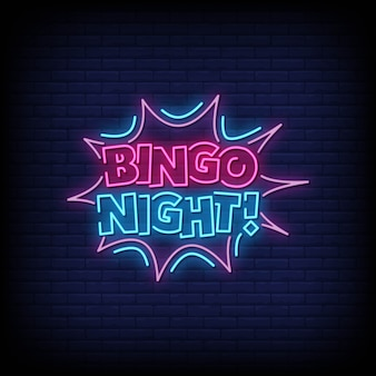 Bingo night neon signs style text