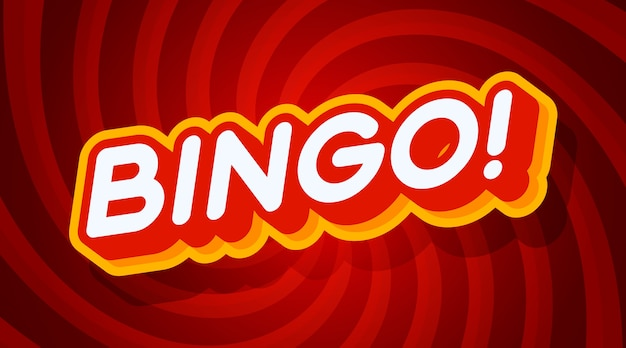 Bingo red and yellow text effect template with 3d type style