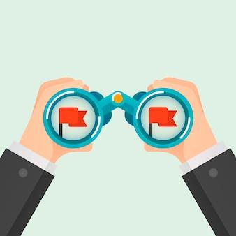 Бинокль бизнес-концепция. добиться цели. векторная иллюстрация.