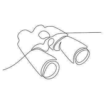 双眼連続線画ベクトル図