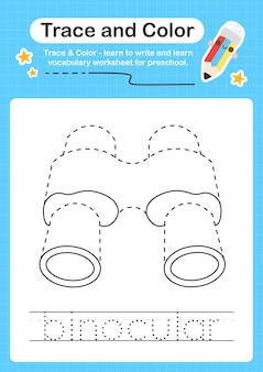 細かい運動技能を練習するための子供のための双眼トレースとカラー就学前ワークシートトレース