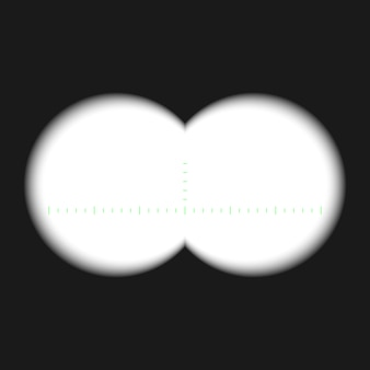 Binocular view with measurement marks, isolated on transparent background. rifle scope template.