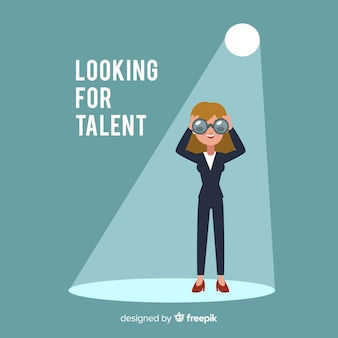 Binocular woman looking talent background