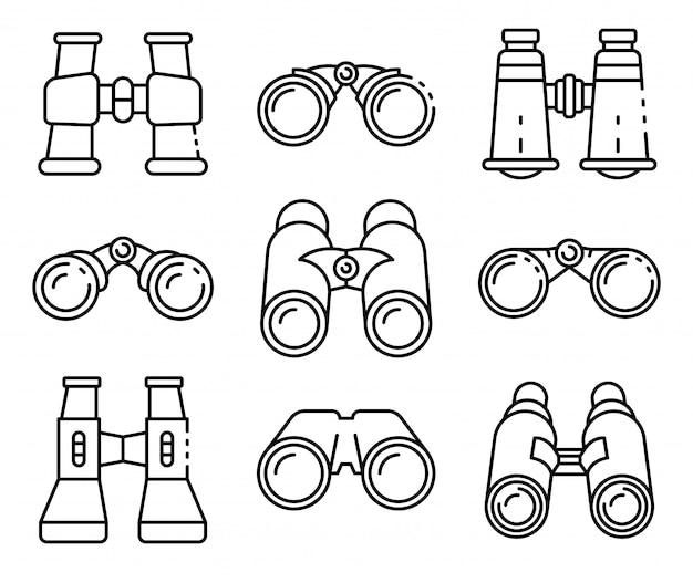 Binoculars icons set, outline style