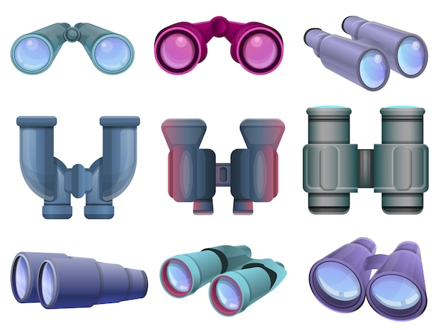 Binoculars set. cartoon set of binoculars
