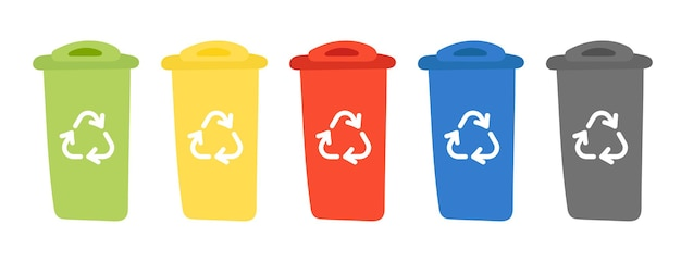 재활용 기호가 있는 쓰레기통. 금속, 플라스틱, 종이, 유리를 분류하는 폐기물 재활용 용기