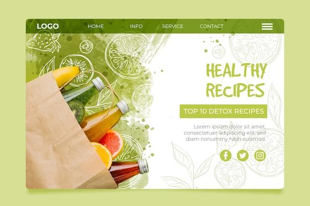 バイオで健康的なフードランディングページ